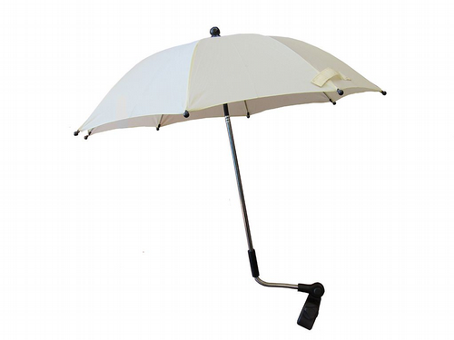 Small Pram Parasol With Clamp - Cream Fully Adjustable Flexible Pole Universal
